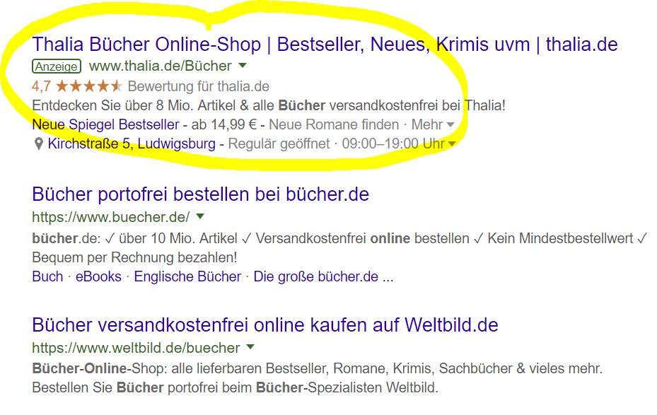 Google Adwords Anzeigen Snippet